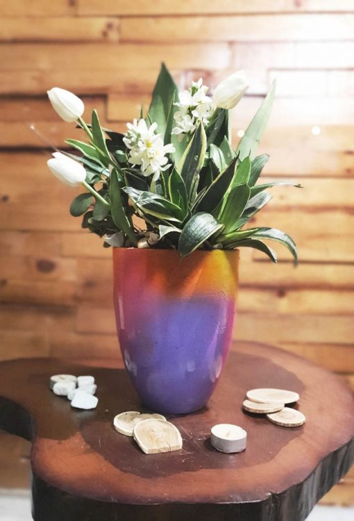 Purify air plants white Artificial flowers with colorful pots nabatdelivery